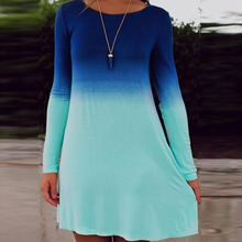 2016 Sea Blue Ocean Fashion Summer Dress Women\'s Long Sleeve Tiered Cute Gradient color Sequin Short Loose Dress