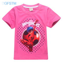 2018 Ladybug Miraculous Trolls Short Sleeve T Shirts for Kids Summer Baby Girls Tshirt Boys Tops Lady Bug Moana Children Clothes(China)
