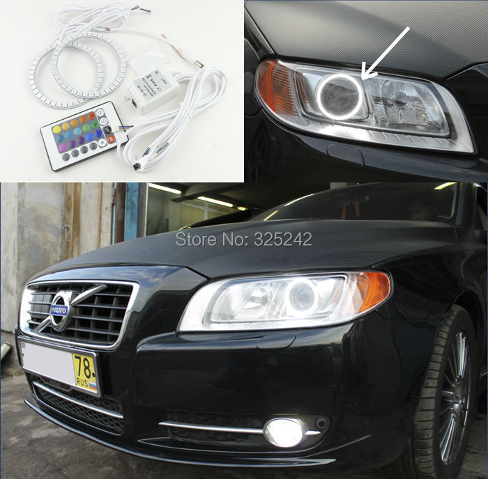 For Volvo S80 S80L 2012 2013 2014 2015 Excellent Angel Eyes kit Multi-Color Ultrabright 7 Colors RGB LED Angel Eyes Halo Ring<br><br>Aliexpress