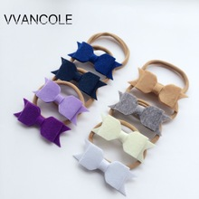 14 colors bow headband  girls  Felt flower bow headband   Nylon Headband Hair Bow Hair Accessory