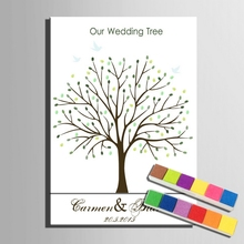 Fingerprint Signature Weeding Tree Painting Canvas Fingerprint Guest Book with Ink pad Wedding Gift Party Wedding Decoration