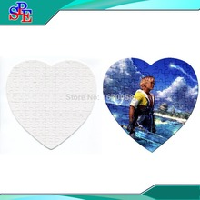 Free Shipping 10 Sets Heart Size Hardboard Sublimation Blank Jigsaw Puzzle Love Style(China)