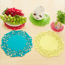Colorful Soft Rubber Coaster Cup Mat Pad Hot Mug Glass Plate Silicone(China)