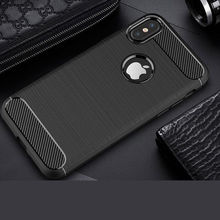 Rugged Carbon Case for IPhone X 8 7 6 6S Plus 5 5se Se Thin Soft Silicone Rubber Shockproof Case Cover Luxury Cases Back Black