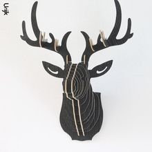 Nordic 3D Elk Deer Head Wall Decorations Model Sculpture Puzzle Wooden Animal Figurines DIY Puzzle Crafts Ornaments Home Decor(China)