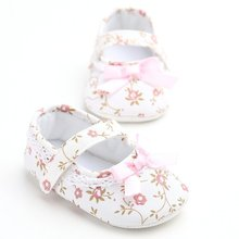 Mary Jane Ballet Dress Baby Toddler First Walkers Crib Floral Soft Soled Anti-Slip Shoes Infant Newborn Girls Princess Shoes(China)
