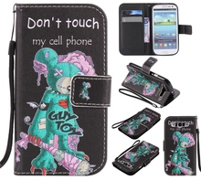 Colorful Pattern One eyed mouse Card Slot Wallet PU Leather Stand Flip New Case Cover for Samsung Galaxy S3 I9300 Case