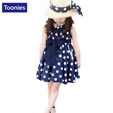 2017 New Children's Clothing Girl's Summer Bow Vest Dress Fashion Elegant Dot Dress High Quality Baby Girl's Princess Dress
