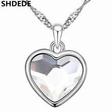 SHDEDE Classic Heart Pendant Necklace Crystal from Swarovski High Quality Fashion Jewelry Women Brand Gift  +13830