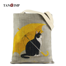 TANGIMP Cute Cat Umbrella Carry-All Natural Cotton Handbags Women Eco-Friendly DIY Grocery Shopping Tote Laptop Beach Bags(China)