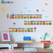 Maruoxuan 26 English Letters Animal Small Train Stickers Children Room Classroom Background Decoration Wall Sticker 76*125cm(China)