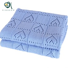 Sinogem Square 130x170cm Sky Blue Cable Knitted Blanket 100% Acrylic Heart Shaped Knitted Blanket for sofa bed home