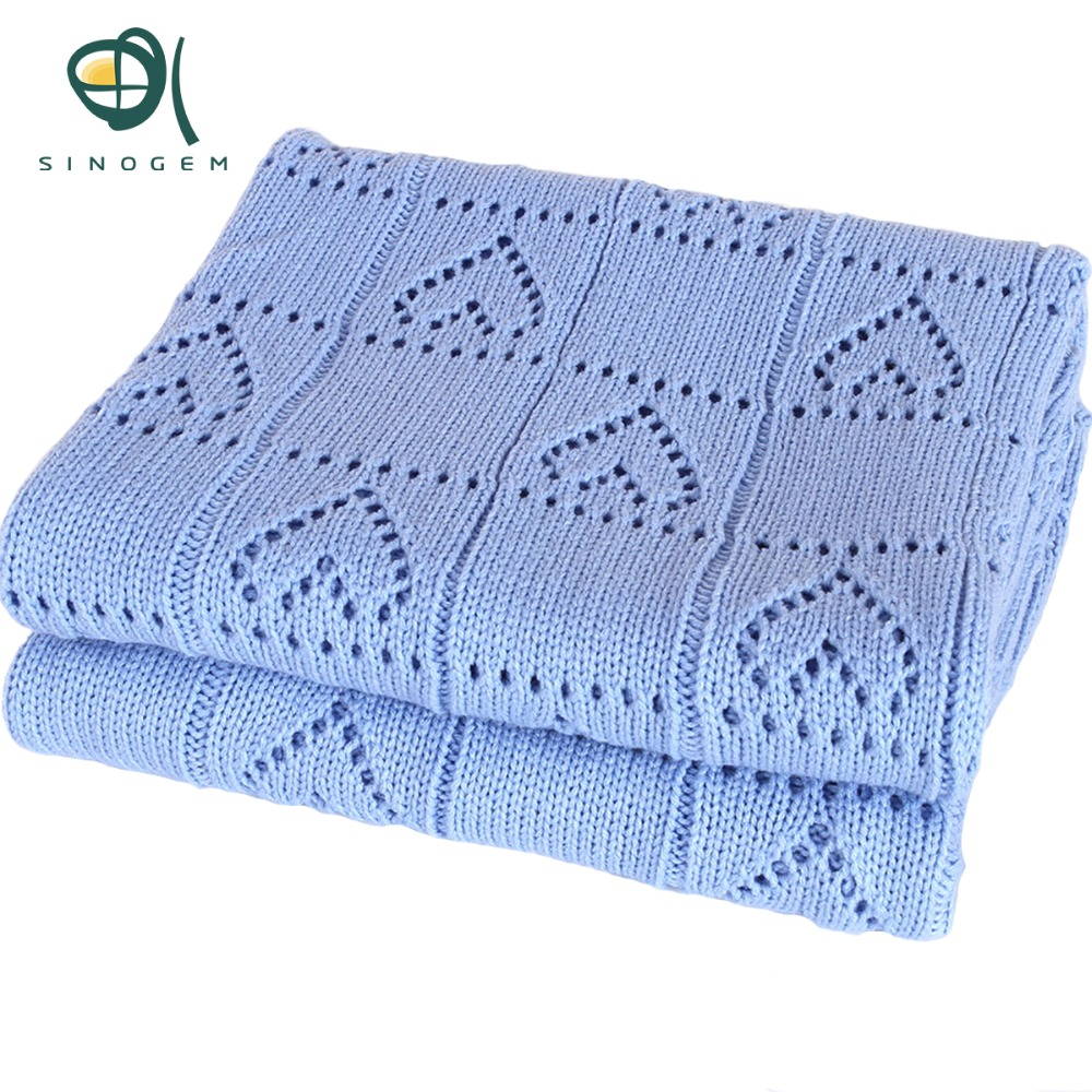 Sinogem Square 130x170cm Sky Blue Cable Knitted Blanket 100% Acrylic Heart Shaped Knitted Blanket for sofa bed home(China)