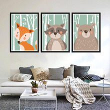 Rabbit Bear Fox Minimalist Art Canvas Poster Painting Picture Print Art Work Modern Home RoomDecor