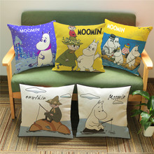 New Arrival Cute Cartoon Moomin Cushion cover Linen Cotton Throw Pillow Case Square 45*45cm Home Textile Product