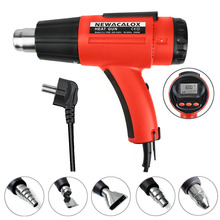 NEWACALOX 1500W Digital LCD Hot Air Gun Adjustable BGA Rework Soldering Station PVC Plastic Welding Tool Industrial Hair Dryer with 5 pcs Heater Nozzle(China)