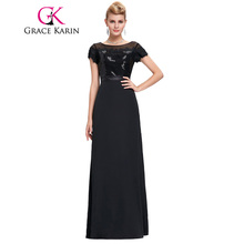 New Arrival Elegant Long Black Evening Dresses Soft Tulle Netting Lace Evening Gowns Grace Karin Sweetheart Formal Dress GK0076
