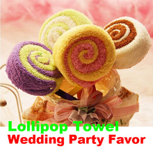 2017 1pcs  Christmas Washcloth Towel Gift  Lollipop Shaped Towel Lollipop Towel Bridal Baby Shower Wedding Party Favor
