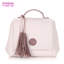 Women's Shoulder Bags PU Leather Fashion Crossbody Bag Brand Designer Ladies Handbag With Tassel For Women Casual Pink Tote Bag