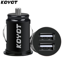 KOYOT Mini Car Truck Dual 2 Port USB Charger Adapter for iPhone Black 12V Power 2.1A USB car charger for xiaomi mobile phone(China)