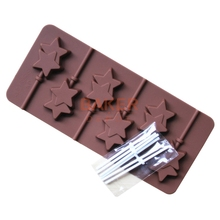 Silicone mold 6 lattices double Pentagram lollipop mold DIY star chocolate mold comes with plastic rod CDSM-068(China)