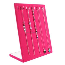 Velvet Necklace Chain Bracelet Display Stand Board Jewelry Holder Rack 11 Slots-W128