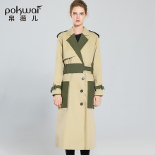 Long Casual Slim Cotton Trench Coat Women 2017 New Autumn High Quality Single Breasted Windbreak Patchwork Full Sleeve Outwear(China)
