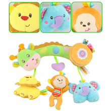 Hot Baby Crib Rattles Plush Craft Cartoon Animals Mobiles Stuffed Educational Toy For Infant Toddler 0-12 Months Stroller Safety
