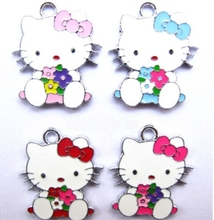 Free shipping wholesale 50 Pcs Holding flowers Hello Kitty Metal Charms pendants DIY Jewellery Making crafts