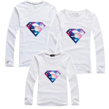 Colours Superman Design Family Clothing Long Sleeve T shirts Fashion Brand Full Top Children's Clothing Family Matching Outfits