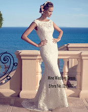 Buy Sheer Jewel Neck Elegant High Lace Mermaid Wedding Dresses Backless Women Sweep Train Buttion Bridal Gowns for $166.00 in AliExpress store
