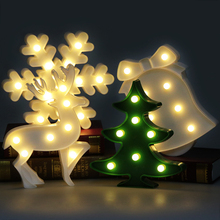LED Lamp 3D Night Lights Marquee Treelet Snowflake Bell Davids Deer LED Letter Night Lamp Baby Bedroom Decoration Kids Gift(China)