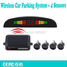 Complete Kit Car Wireless Parking Assistance System with 4 Parking Sensors Colorful LED Display Auto Backup Reverse Alarm Kit