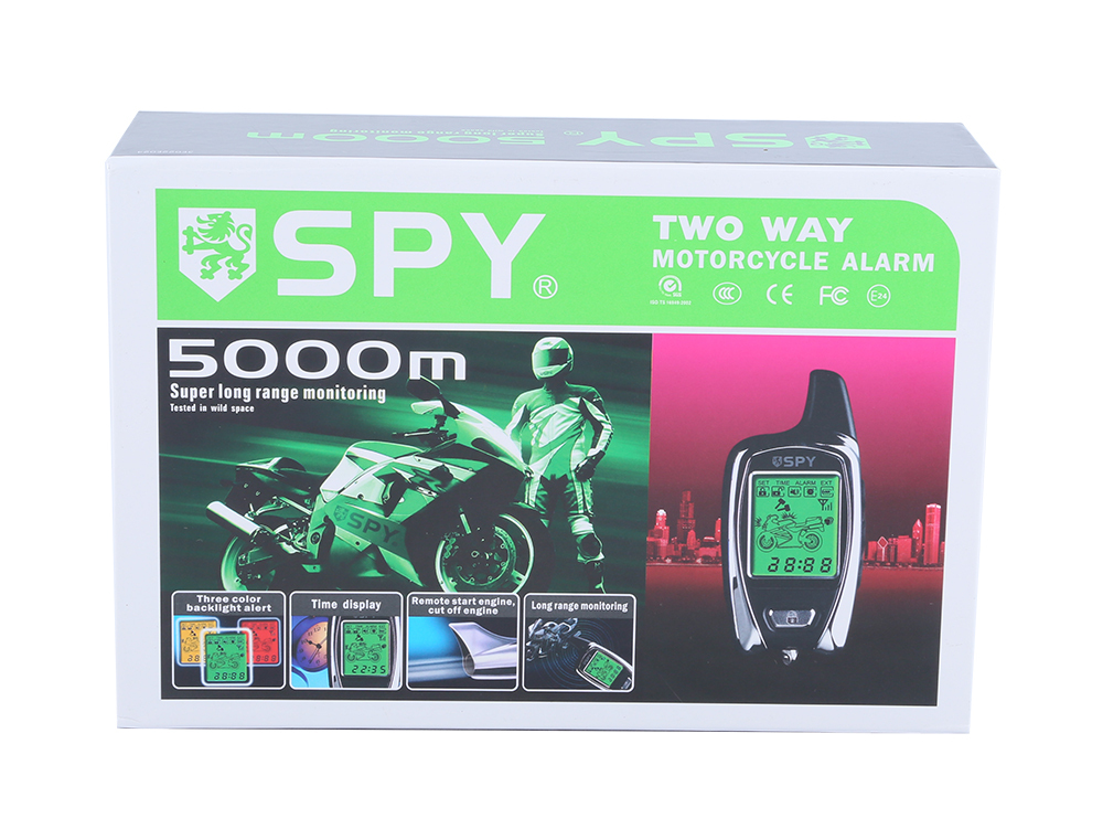 SPY 5000m  LCD two way motorbike alarm with remote engine start &amp; microwave sensor long remote distance built in shock sensor<br><br>Aliexpress