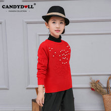Candydoll Children Girls Sweater Long-sleeve Pullover Girls Clothing Red Baby Girls Knitted Sweaters Pearls Floral 3-10Y SAJ3114(China)