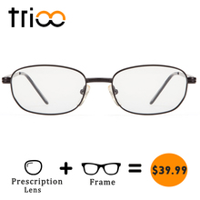 TRIOO Prescription Glasses Women Myopia Reading Eyeglasses Oval Metal Black Frame Clear Diopter Lens Spectacles Computer Eyewear(China)