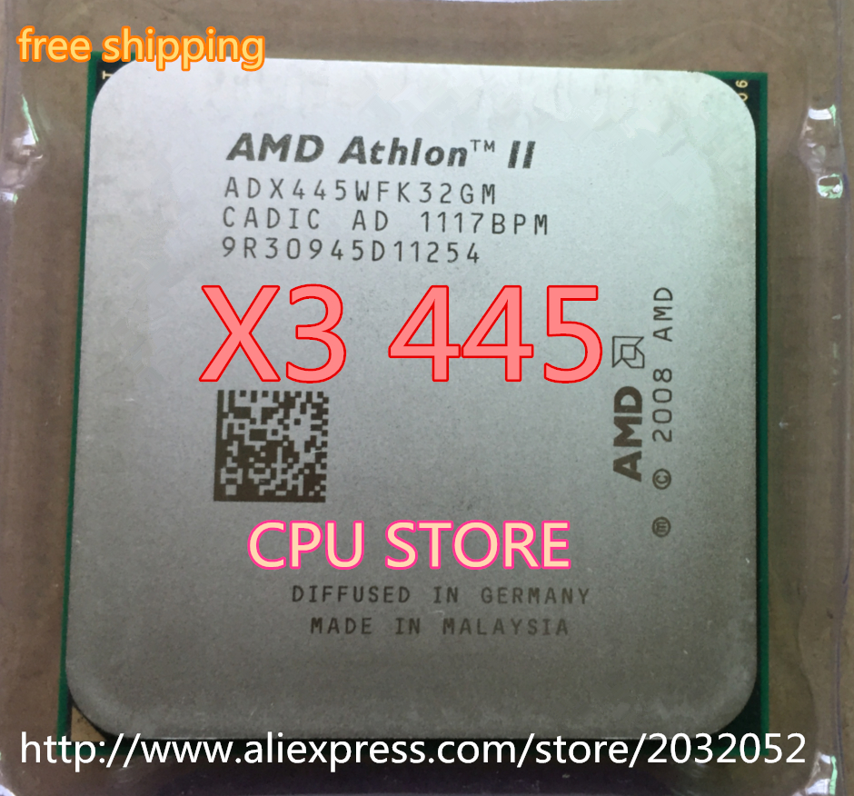 AMD Athlon X3 445 processor (3.1GHz/1.5MB L2 Cache /Socket AM3 CPU Processor scattered pieces (working 100% Free Shipping)<br><br>Aliexpress
