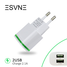 ESVNE 2 USB Charger 5V 2.1A EU Plug USB Adapter Wall Mobile Phone Charger For iPhone 5 6 7 iPad Tablet Samsung HUAWEI Charging