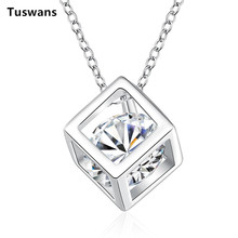 Tuswans Wholesale Fashion Silver Chain Necklace With Cube Zircon Pendant Perfume Women Bijoux Vintage Collar Necklace(TSN750)(China)