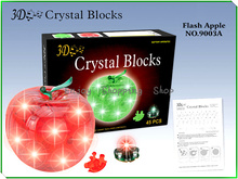 DIY 3d Crystal puzzle apple with light  jigsaw model building learning&education kids toys for children brinquedos educativos