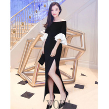 2017 fashion summer clothes slash neck white flared sleeves high slit womens midi dresses sexy bodycon dress women black dress