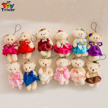 Wholesale cute bear with wedding dress doll mobile phone key chain pendant plush toy wedding birthday party cheap gift present