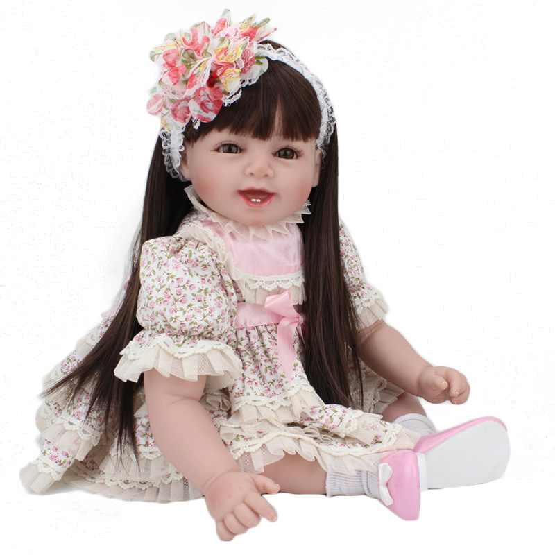 Silicone Reborn Baby Dolls, Lifelike Reborn Babies Play House Toy Birthday Gift Long Hair Wigs Girl Dresses Brinquedods<br><br>Aliexpress