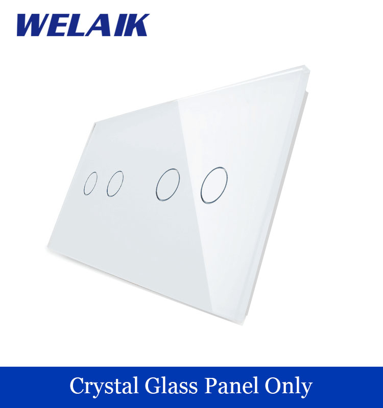 WELAIK  Touch Switch DIY Parts  Glass Panel Only of Wall Light Switch Black White Crystal Glass Panel 2Gang+2Gang  A2922W/B1 <br><br>Aliexpress
