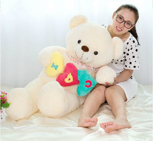 2016 100cm Jumbo Plush Soft Lovely Giant Stuffed Heart Teddy Bear Toy, Great Gift for Kids, Free Shipping