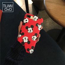 Luxury Cartoon China Red Mickey Hear Case For iPhone 6 6s Plus Soft TPU Silicon IMD Cases For iPhone 7 Plus Back Phone Cover
