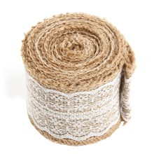 5.5*500cm Burlap Natural Hessian Ribbon With Lace Trim Edge Wedding Rustic Vintage Wedding Decoration Centerpieces for Tables