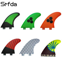 srfda Free shipping surfboard fin design surfing fins/ G7 L size surfboard fins with fiberglass honey comb material(three-set)(China)