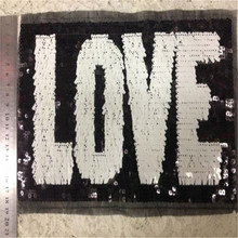 Clothes patch Apparel Sewing & Fabric Cute Letter LOVE White black logo, Fashion sequins patches for clothing DIY free shipping