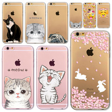 For Apple iPhone 8 7 6 6S 5 5S SE 7Plus 6sPlus 4S Soft Silicon Transparent Phone Case Cover Cute Cat Rabbit Husky Phone Capa